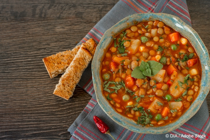 Vegetarian lentil stew with bolognese sauce in a bowl with parsley